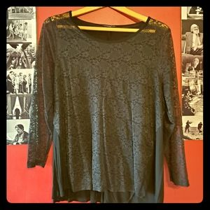 Soft and Lacy Black Plus Long Sleeve Top